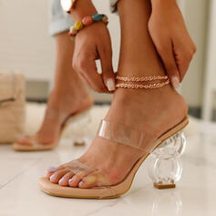 Femmes PU Talon bottier Sandales Chaussures plates À bout ouvert Chaussons avec Talon cristal chaussures