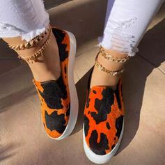Femmes Suède Talon plat Chaussures plates bout rond Espadrille Glisser sur avec Couleur d'épissure chaussures