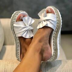 Femmes Similicuir Talon compensé Sandales Chaussures plates Plateforme Escarpins Chaussons avec Bowknot chaussures