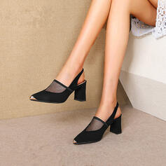 Femmes Mesh Talon bottier Sandales Escarpins Escarpins Low Top Bout pointu avec Boucle Couleur unie chaussures