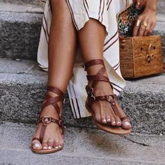PU Talon plat Sandales Chaussures plates À bout ouvert Anneau d'orteil avec Boucle chaussures