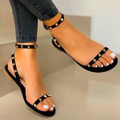 Femmes PU Talon plat Sandales Chaussures plates À bout ouvert avec Rivet Ouvertes chaussures