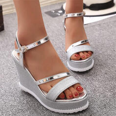Women's PU Wedge Heel Sandals Platform Wedges Peep Toe With Sparkling Glitter Buckle Solid Color shoes