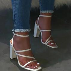 Femmes PU Talon bottier Sandales Chaussures plates À bout ouvert Chaussons avec Boucle Couleur unie chaussures