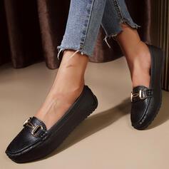 Femmes PU Talon plat Chaussures plates Low Top bout rond Glisser sur avec Couleur unie chaussures