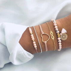 Infinity Alloy Beads With Heart Tag Bracelets (Set of 5)