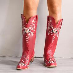 Femmes PU Talon bottier Bottes Bottes mi-mollets Bout pointu avec Fleurie Broderie chaussures