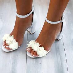Femmes PU Talon bottier Sandales Escarpins À bout ouvert avec Motif appliqué Ouvertes Couleur unie chaussures