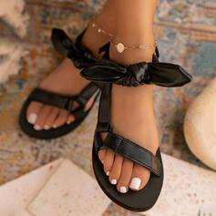 Femmes PU Talon plat Sandales Chaussures plates À bout ouvert avec Bowknot Velcro chaussures