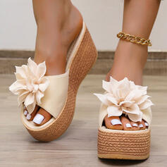 Women's PU Wedge Heel Sandals Platform Peep Toe Slippers With Applique Solid Color shoes