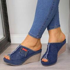 Femmes Treillis Talon compensé Sandales Compensée À bout ouvert Chaussons Talons avec Semelle chaussures