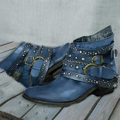 Women's PU Chunky Heel Boots With Rivet Buckle Solid Color shoes