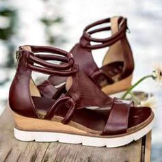 Femmes PU Talon compensé Sandales Plateforme Compensée À bout ouvert Talons avec Ouvertes Couleur unie chaussures