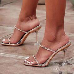 Femmes PU Talon kitten Sandales Escarpins À bout ouvert Chaussons avec Strass Couleur unie chaussures