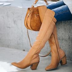 Femmes Similicuir Talon bottier Cuissardes Bottes d'hiver avec Zip Couleur unie chaussures