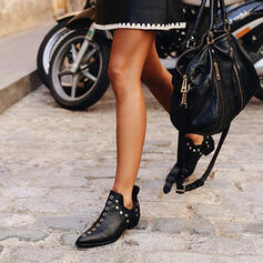 Femmes PU Talon bottier Bottines Bout pointu avec Rivet chaussures