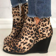 Women's PU Wedge Heel Wedges Ankle Boots Low Top Pointed Toe Chelsea Boots With Animal Print Zipper shoes