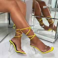 Femmes PU Talon stiletto Sandales Escarpins À bout ouvert Chaussons Bout pointu avec Dentelle Talon cristal Couleur unie chaussures