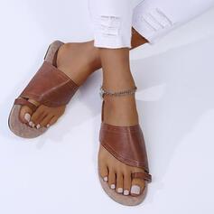 Femmes PU Talon plat Sandales À bout ouvert Chaussons Anneau d'orteil avec Boucle Ouvertes chaussures