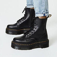 Femmes PU Talon plat Bottines Martin bottes bout rond avec Dentelle Couleur unie chaussures