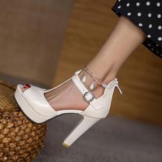 Femmes PU Talon bottier Sandales Escarpins Plateforme À bout ouvert avec Perle d'imitation Boucle Chaîne Ouvertes Couleur unie chaussures