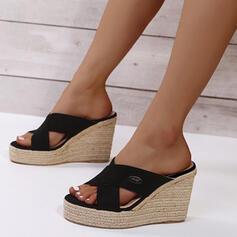 Femmes PU Talon compensé Sandales Plateforme Compensée À bout ouvert Chaussons Talons avec Ouvertes chaussures