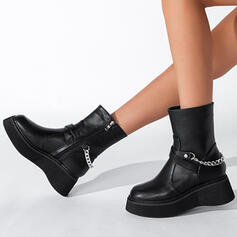 Women's PU Wedge Heel Boots Martin Boots With Zipper Chain Solid Color shoes