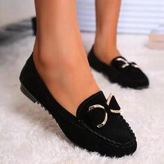 Femmes Suède Talon plat Chaussures plates bout rond Slide & Mules Flâneurs Glisser sur avec Bowknot Couleur unie chaussures