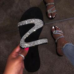 Femmes PU Talon plat Sandales Chaussures plates À bout ouvert Chaussons avec Paillette chaussures