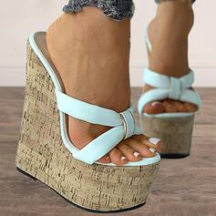 Femmes PU Talon compensé Sandales Escarpins Plateforme Compensée À bout ouvert Escarpins Chaussons Talons avec Couleur unie chaussures