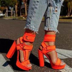 Femmes PU Talon bottier Escarpins Plateforme À bout ouvert avec Boucle Ouvertes Velcro chaussures