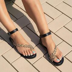 Femmes PU Talon plat Sandales Chaussures plates À bout ouvert Anneau d'orteil avec La copie Animale chaussures