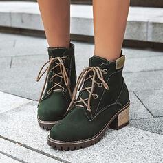 Femmes Suède Talon bottier Bottines Martin bottes bout rond avec Dentelle Couleur unie chaussures