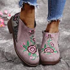 Femmes PU Talon bottier Bottines bout rond avec Une fleur Fleurie chaussures
