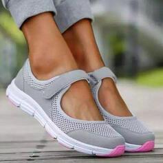 Femmes Tissu Mesh Talon plat Chaussures plates bout rond Tennis avec Ouvertes chaussures