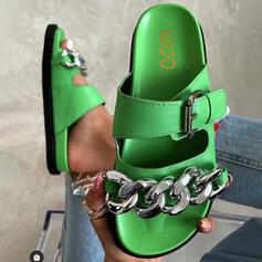 Femmes PU Talon plat Sandales Chaussures plates À bout ouvert Chaussons avec Boucle Chaîne chaussures