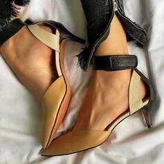 Women's PU Stiletto Heel Sandals Pumps With Hollow-out Splice Color shoes