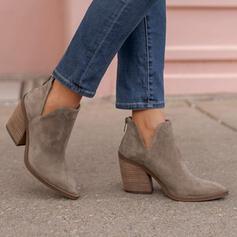 Femmes Suède Talon bottier Bottines Low Top Bout pointu avec Zip Couleur unie chaussures