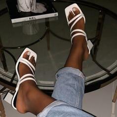 Femmes PU Talon bottier Sandales Escarpins À bout ouvert Chaussons avec Couleur unie chaussures