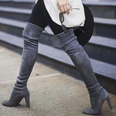 Femmes Similicuir Talon bottier Bottes Cuissardes Talons Bout pointu avec Dentelle Couleur unie chaussures