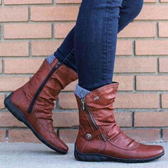 Women's PU Wedge Heel Mid-Calf Boots Round Toe With Zipper Colorblock shoes