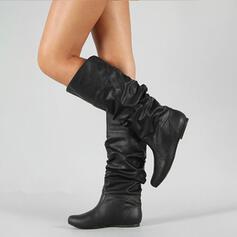 Femmes PU Talon bas Bottes mi-mollets avec Plissé chaussures