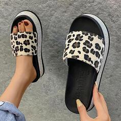 Femmes PU Talon plat Sandales Compensée À bout ouvert Chaussons Talons avec La copie Animale chaussures