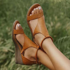 Women's Leatherette Wedge Heel Sandals With Buckle Hollow-out Solid Color shoes