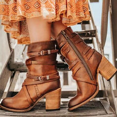 Women's PU Chunky Heel Boots Heels With Buckle Zipper Solid Color shoes