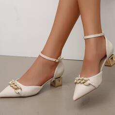 Femmes PU Talon bottier Sandales Escarpins À bout ouvert avec Boucle Chaîne chaussures