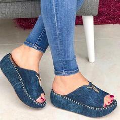 Femmes Treillis Talon compensé Sandales Plateforme Compensée À bout ouvert Chaussons Talons avec Zip Couleur unie chaussures