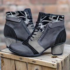 Women's PU Chunky Heel Boots With Lace-up Floral Print shoes