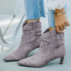 Women's Suede PU Stiletto Heel Ankle Boots Low Top Pointed Toe With Solid Color shoes