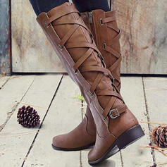 Women's PU Chunky Heel Boots With Buckle Lace-up Solid Color shoes